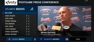 Braves Manager Brian Snitker Press Conference – July 8 2018! At Miller Park In - Final Score: Milwaukee Brewers 10 Atlanta Braves 3!