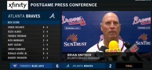 Braves Manager Brian Snitker Press Conference July 10 2018!  At SunTrust Park - Final Score: Blue Jays 6 Braves 2!  Chop On Braves Country!