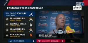 Braves Manager Brian Snitker Press Conference July 22 2018! At Nationals Park Final Score: Nationals 6 Braves 2! Snitker Talks About Missed Call On Replay!