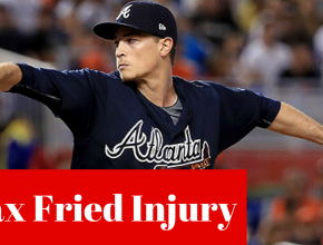 Braves Pitcher Max Fried Exits Game With Groin Strain Injury Against The Washington Nationals on August 7 2018 in the first game of a double header!