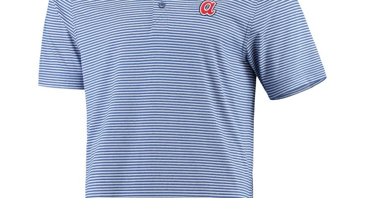 Atlanta Braves Cutter And Buck Cooperstown Collection Forge Tonal Stripe DryTec Royal Polo