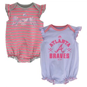 Atlanta Braves MLB Majestic Infant Team Sparkle 2 Pack Frill Creeper Set