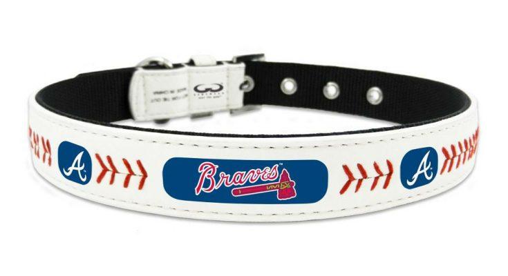 Atlanta Braves Small Leather Lace Dog Collar MLB Pet Cat Lead CDG