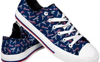 Atlanta Braves Womens Low Top Repeat Print Canvas Shoes