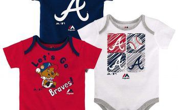 Majestic Atlanta Braves Baby Infant Go Team 3 Piece Creeper Set