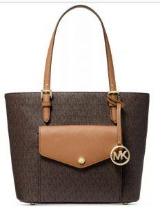 New Michael Kors jet set item pocket multi function tote brown acorn gold bag