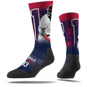 Ronald Acuna Jr Atlanta Braves Full Sublimated Player Navy Crew Socks