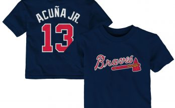 Ronald Acuna Jr Atlanta Braves Majestic Infant Player Name And Number Navy T-Shirt